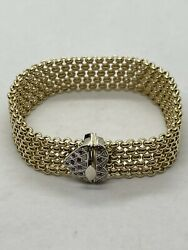 Vintage Italy 18k Yellow Gold Wide Woven Link Chain Bracelet Ruby Heart Signed
