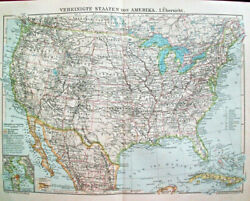 1904 Antique United States Of America U.s.a History Geography Map Art Lithograph