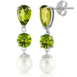 14k White Gold Chandelier Earrings With Peridot And Freshwater-cultured Pearl