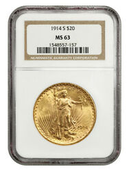 1914-s 20 Ngc Ms63 - Saint Gaudens Double Eagle - Gold Coin