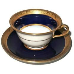 T And V Limoges Raynaud Conde Cobalt Blue Gold Encrusted Coffee / Tea Cup And Saucer