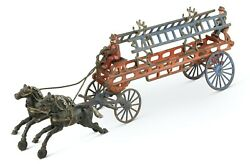 Vintage Kenton Cast Iron Two Horse Drawn Fire Hook And Ladder Wagon Truck - Hubley