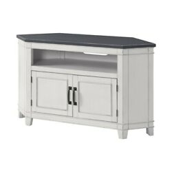 Saltoro Sherpi 50 Inch Wooden Tv Stand With Open Shelve Gray And Antique White