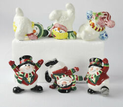 6 Fitz And Floyd Christmas Holiday Snowmen Decorations Figurines Tumblers