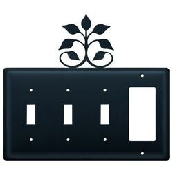 Triple Switch And 1 Gfi Outlet Cover With Leaf Fan Accent Black