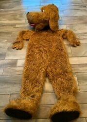 Halloween Costume Furry Suit Dopey Dog Brown Full Bodysuit Fingers Shoes Tongue