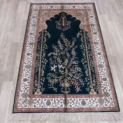 3and039x5and039 Handknotted Silk Rug Antique Home Indoor Easy To Clean Carpet 066b