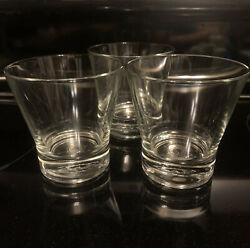 Rare Set Of 3 Crown Royal Made In Italy Lowball Whisky Rocks Glasses Euc