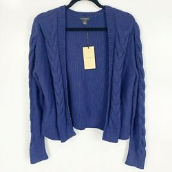 Halogen Navy Blue Open Front Cable Knit Long Sleeves Cardigan Sweater Nwt Size M