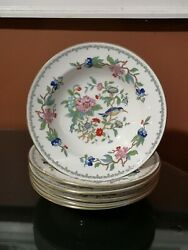 Set Of Six Aynsley Bone China Pembroke 8 Rim Soup Bowls In Excellent Condition