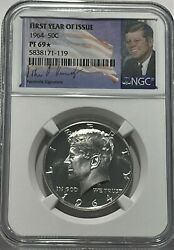 1964 Ngc Pf69 Star Silver Proof Kennedy First Year Of Issue Half Jfk Coin Sign
