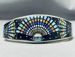 Most Intricate Signed Navajo Turquoise Sterling Silver Inlay Bracelet