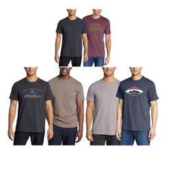 New Eddie Bauer Men's 2-pack Ultra Soft Graphic And Crew T-shirts Variety 620c