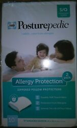Sealy Posturepedic 2pk White Allergy Protection Pillow Protectors Standard Queen