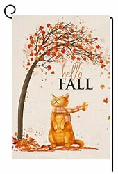 Fall Cat Small Garden Flag 12X18 Inch Vertical Double Sided Autumn Thanksgiving