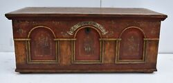 Pine Trunk Or Blanket Chest In Original Decorative Paint Germany Dated 1846