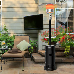 Gymax Outdoor Patio Heater Propane Standing Lp Gas Steel W/table And Wheels Black