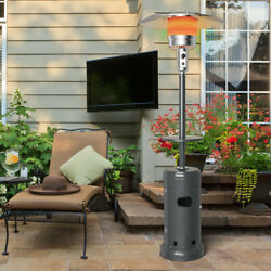 Gymax Outdoor Patio Heater Propane Standing Lp Gas Steel W/table And Wheels Grey