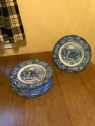 10 Liberty Blue Staffordshire Plates Washington at Valley Forge 8.5quot; Luncheon
