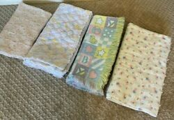 4 Vintage Baby Blankets 1980#x27;s Pink Green Blue Puppies Quilted Knit Handmade