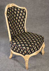 Antique White Painted French Carved Boudoir Bedroom Chair Circa 1900