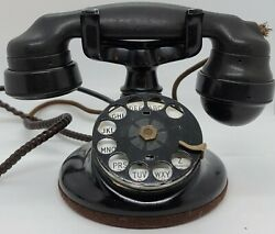 Antique 1924 Western Electric 102 B1 Rotary Dial Round Base Art Deco Telephone