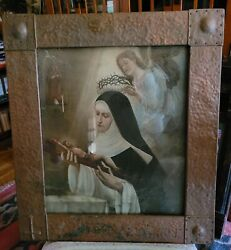 Large And Incredible Antique Catholic Sacred Heart Hammered Copper Picture Frame
