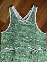 Vintage Floral Cottagecore Full Apron Smock L Xl Butterfly Fern Lily Pad Pockets