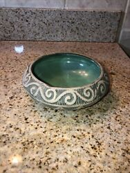 Antique 1920's Red Wing Stoneware Brush Ware Arts And Crafts Enamel Green Bowl