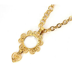 Magnifying Glass Long Necklace Gold Coco Mark Heart 95p Vintage Accessory
