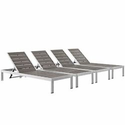 Shore Set Of 4 Outdoor Patio Aluminum Chaise Silver Gray Size 76lx25wx12h