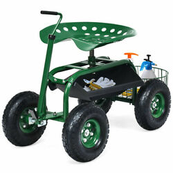 Gymax Rolling Garden Cart Scooter W/ Adjustable Seat Storage Basket Tray