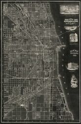 Art-print-antique-map-of-chicago-blanchard-38x59in-vertical-image-on-paper-canv