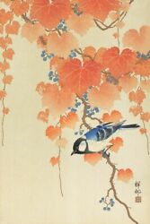 Art-print-great-tit-on-paulownia-branch-koson-37x55in-vertical-image-on-paper-c