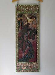 Rare Alphonse Mucha Evening Star Wall Tapestry Made in USA Bon Art Exclusive