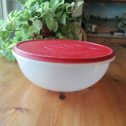 Vintage Tupperware Large 26 Cup Fix N Mix Sheer Bowl #274 With Red Lid #224