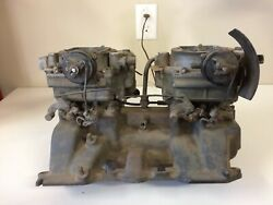 1950s Cadilliac 2 4-barrell Intake Manifold W Carbs And Linkage No Air Cleaners