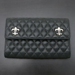 Chrome Hearts Chromehearts Quilt Wave Wallet Trifold Long Magnet Bs Fluffy