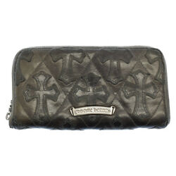 Chrome Hearts Rec Zip Quilted Cross-patch Leather Wallet Secondhand Degree Ab