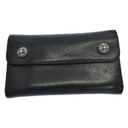 Chrome Hearts Wave Cross Ball/wave Crossball Button Leather Wallet Secondhand