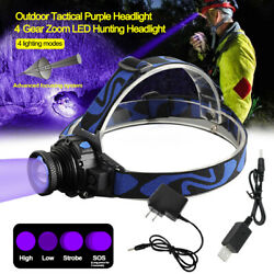 395nm Uv Led Headlamp Rechargeable Zoom Ultraviolet Blacklight Head Torch 4modes