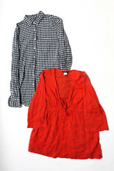 J Crew Womens Button Up Gingham Embroidered Shirts Blue Red Size 8T Large Lot 2