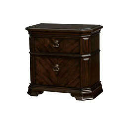 2 Drawer Wooden Nightstand With Clipped Corner And Metal Ring Pulls, Brown