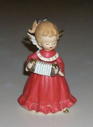 Vintage Japan Girl Angel in Red Dress w Accordion Concertina 4 3 4quot;