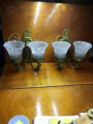 """Pair Brass Wall Double Arm Sconces Signed """"holophane Ref Gas Lt Co"""" Electric"""