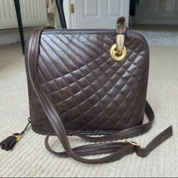 French Leather Quilted Stitched Shoulder Bag Brown