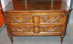 Beautiful Karges Louis Xvi Low Walnut Chest Dresser With Custom Top