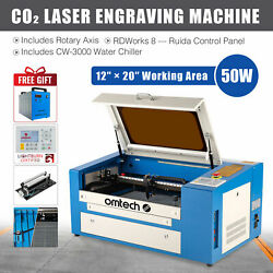 50w 20x12 Co2 Laser Engraver Cutter And Cw-3000 Water Chiller And Rotary Axis
