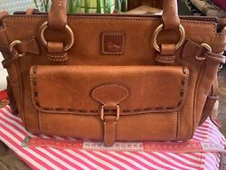 Dooney And Bourke Brown Leather Cuir Tote With Tassles Classy
