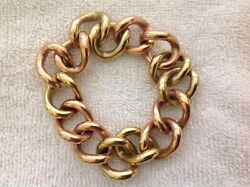 14k - Two Tone - Chain Link Bracelet - Signed